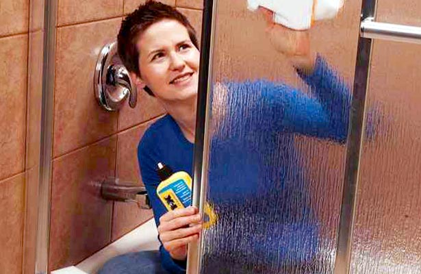 how do you clean clear shower doors